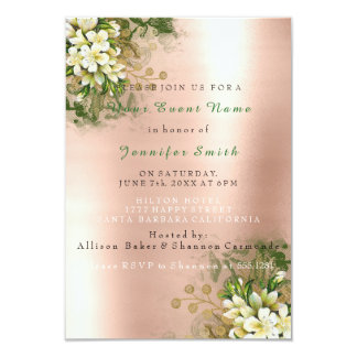 Floral Rose Gold Copper Metallic Blush Pearly Mint Card