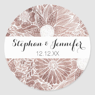 Floral Rose Gold Flowers and Leaves Drawing White Round Sticker
