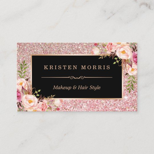 Floral rose gold glitter makeup artist hair salon business card floral rose gold glitter makeup artist hair salon business card reheart Image collections