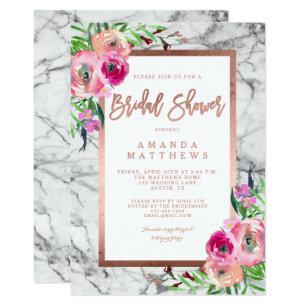Bridal shower invitations zazzle floral rose gold marble wedding bridal shower invitation filmwisefo