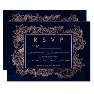 Floral rose gold navy watercolor RSVP wedding Card