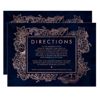 Floral rose gold navy watercolor wedding direction card