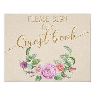 floral rose  Wedding sign Guestbook Print