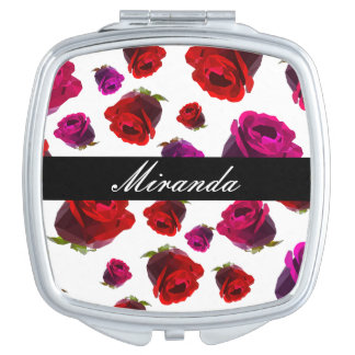 Floral Rose with Name Mirror For Makeup