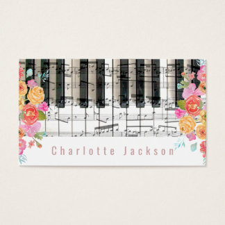 floral roses decor pianist music business card