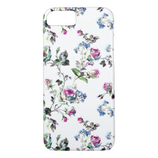 Floral Roses Pattern - Pink and Blue iPhone 7 Case