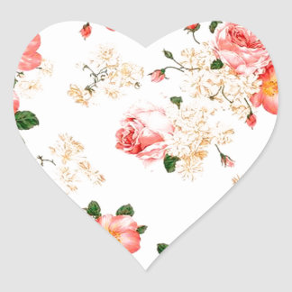 Floral Roses Heart Stickers