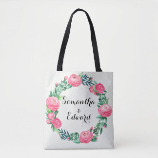 Floral Roses Watercolor Leaves Tote Bag