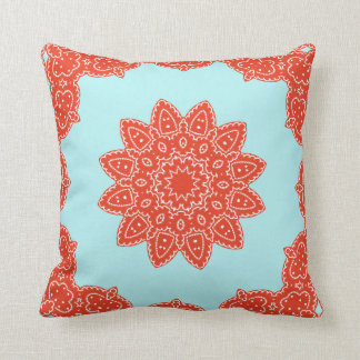 Floral Rosetta Pattern in Red & Teal Pillowcase Cushion