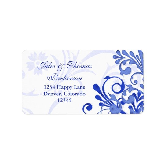 Floral Royal Blue Wedding Return Address Label