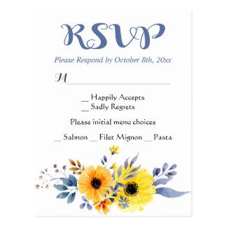 Floral RSVP Blue & Yellow Flowers Wedding Postcard
