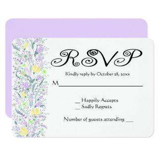 Floral RSVP Lavender Purple & Yellow Flowers Card