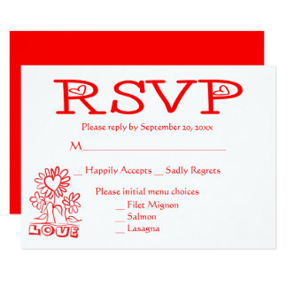 Floral RSVP Love Flowers & Hearts Red Wedding Card