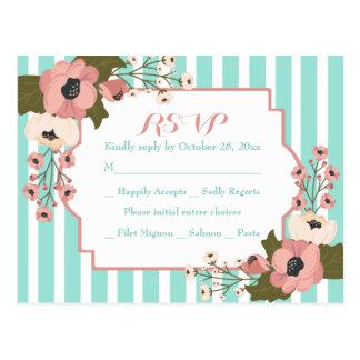 Floral RSVP Mint Green Stripes Wedding Flowers Postcard