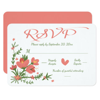Floral RSVP Pink Coral And Green Flower - No Menu Card