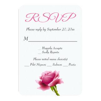 Floral RSVP Pink Rose Flower Party / Wedding 9 Cm X 13 Cm Invitation Card