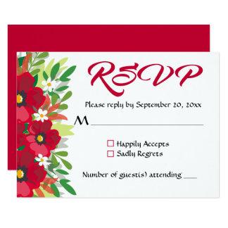 Floral RSVP Red Burgundy Wedding Watercolor Flower 9 Cm X 13 Cm Invitation Card