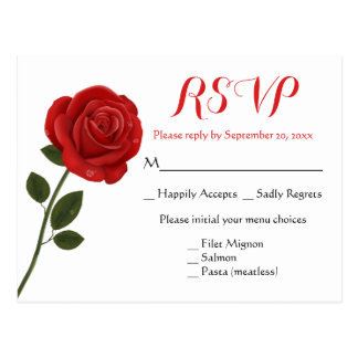 Floral RSVP Red Rose Flower - Wedding Party Postcard