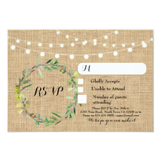 Floral RSVP Wedding Burlap Response Cards Lights