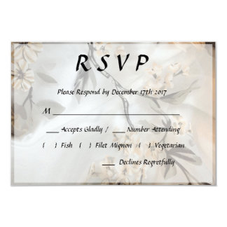 Floral RSVP Wedding Invite in Cream White and Gray