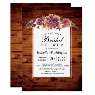 Floral Rustic Barn Wood Bridal Shower Card