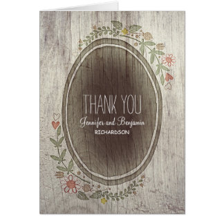floral rustic country wedding thank you cards