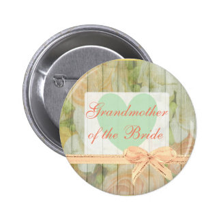 """Floral Rustic """"Grandmother of the Bride"""" Button"""