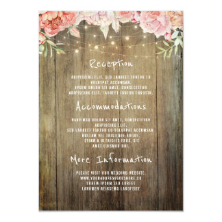 Floral Rustic Lights Wedding Information Guest Card