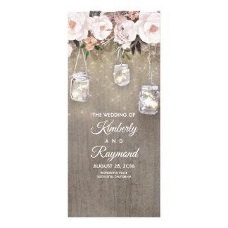 Floral Rustic Mason Jar Lights Wedding Programs Rack Card