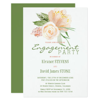Floral rustic peach gold engagement party invite