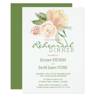 Floral rustic peach gold rehearsal dinner invite