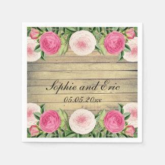 Floral rustic vintage rose wedding paper napkins