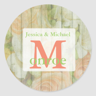 Floral Rustic Weathered  Wood Monogrammed Stickers