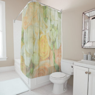 Floral Rustic Weathered  Wood Shower Curtain
