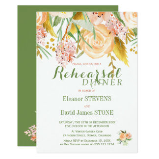 Floral rustic winter rehearsal dinner invite