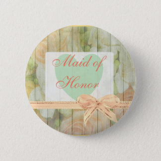 "Floral Rustic Wood ""Maid of Honor"" Wedding  Button"