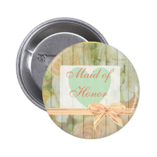 """Floral Rustic Wood """"Maid of Honor"""" Wedding  Button"""