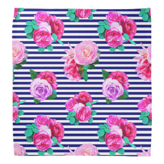 Floral sailor striped bandanna