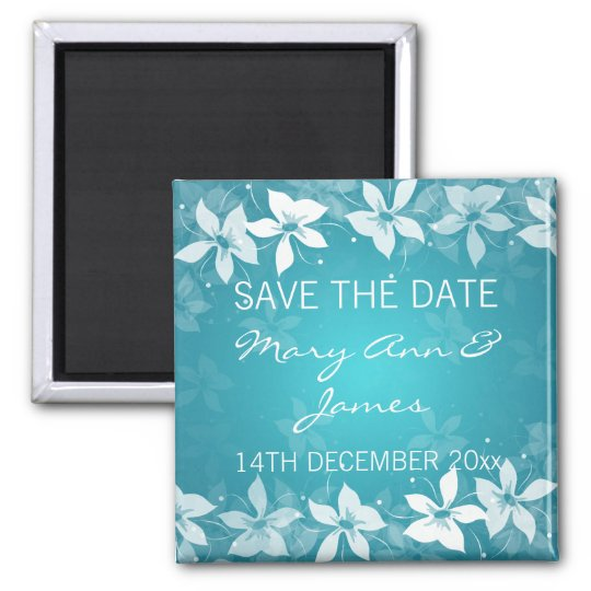 Floral Save The Date Exotic Blooms Blue Magnet