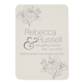 Floral Save the Date (Natural) 9 Cm X 13 Cm Invitation Card