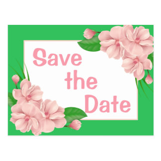 Floral Save The Date Pink & Green Flower Wedding Postcard