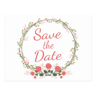 Floral Save the Date Rose Red Pink Wedding / Event Postcard