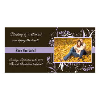 Floral Save the Date Wedding - Purple Personalized Photo Card