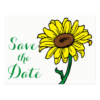 Floral Save The Date Yellow Green Flowers Wedding Postcard
