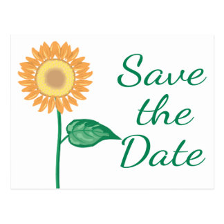 Floral Save The Date Yellow Sunflower Green Postcard