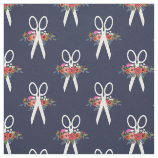 Floral Scissors Navy Blue Pattern Fabric