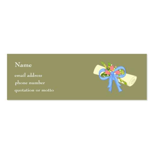 Floral Scroll Graduation or Reunion Card Business Card Templates
