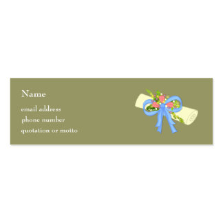 Floral Scroll Graduation or Reunion Card Pack Of Skinny Business Cards