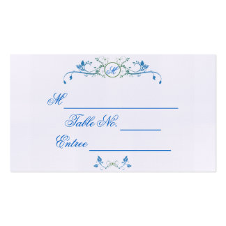 Floral Scroll Monogram in Blue and Green Place Car Business Card Template