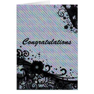 Floral Scroll & Texture Congratulations Card